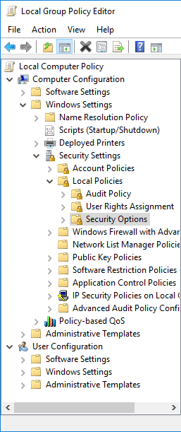 Local Group Policy Editor - gpedit.msc - Computer Configuration - Windows Settings - Security Settings - Local Policies Security Options