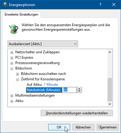 Monitor StandBy nach Windows Sperre – Zeit einstellen