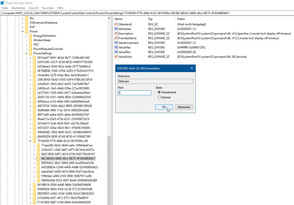 Regedit - Power - PowerSettings - Energieoptionen - Zeitlimit für Konsolensperre - Console lock display off timeout - Attributes 2