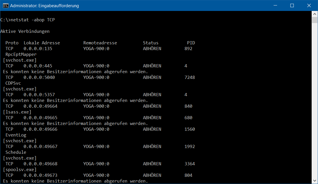 CMD - netstat -abop TCP - Aktive Verbindungen - Win10