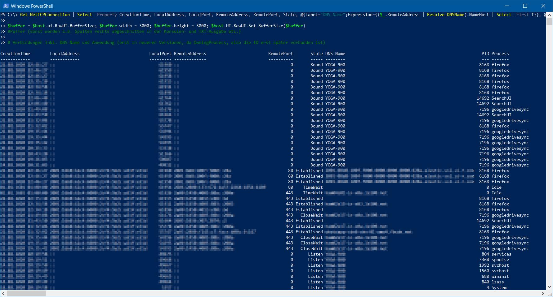 Get-NetTCPConnection - Verbindungen per PowerShell inkl. DNS-Name und Anwendung
