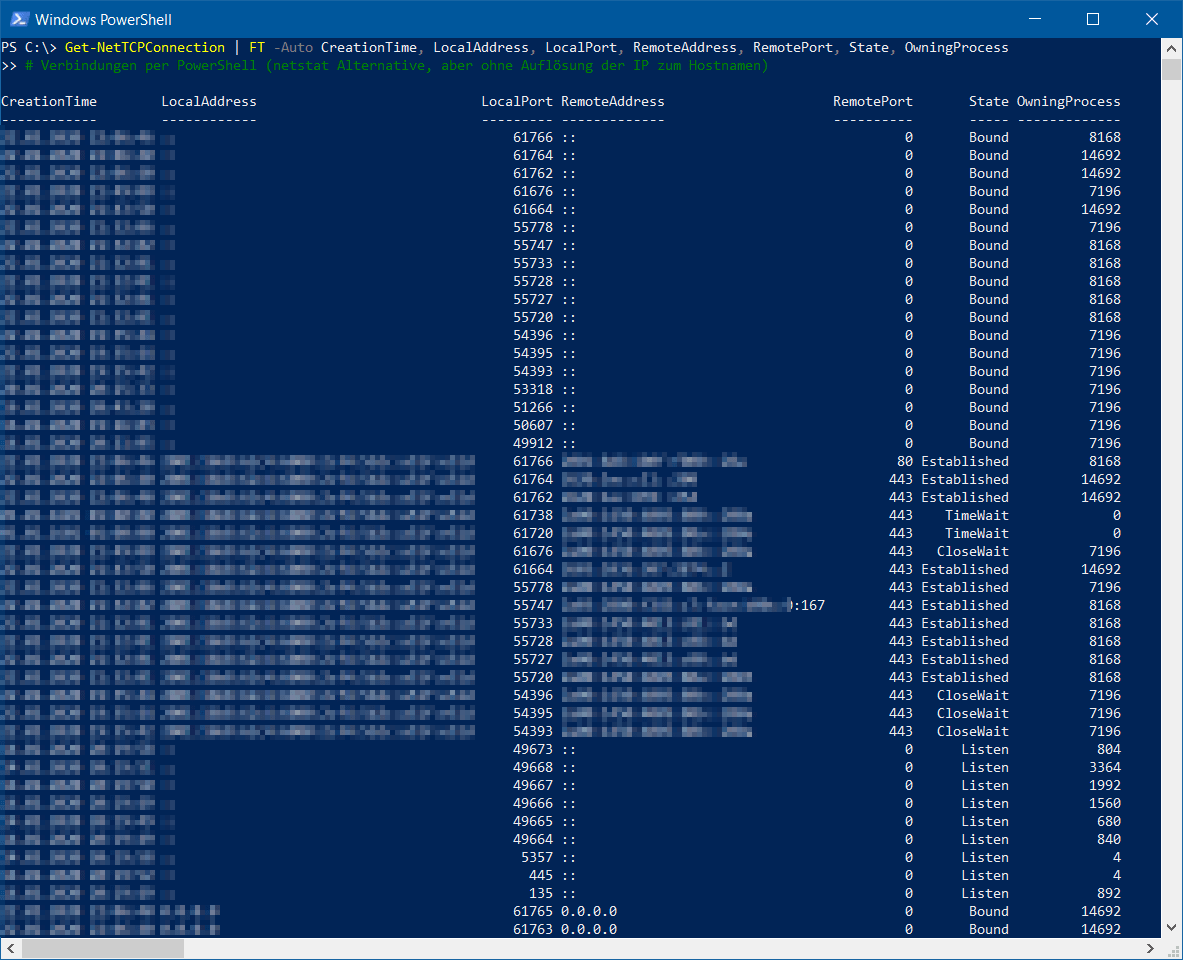 netstat PowerShell Alternative - Get-NetTCPConnection - Verbindungen per PowerShell - netstat Alternative, aber ohne Hostname