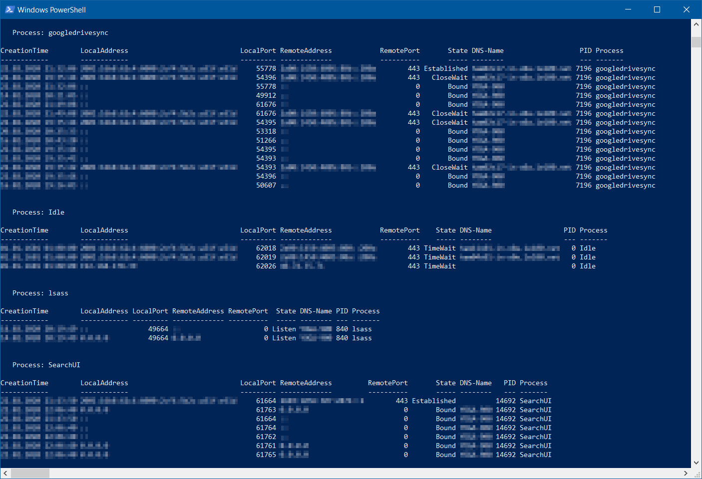 Get-NetTCPConnection - Verbindungen per PowerShell - netstat PowerShell Alternative inkl. DNS-Name und GRUPPIERT nach Anwendung