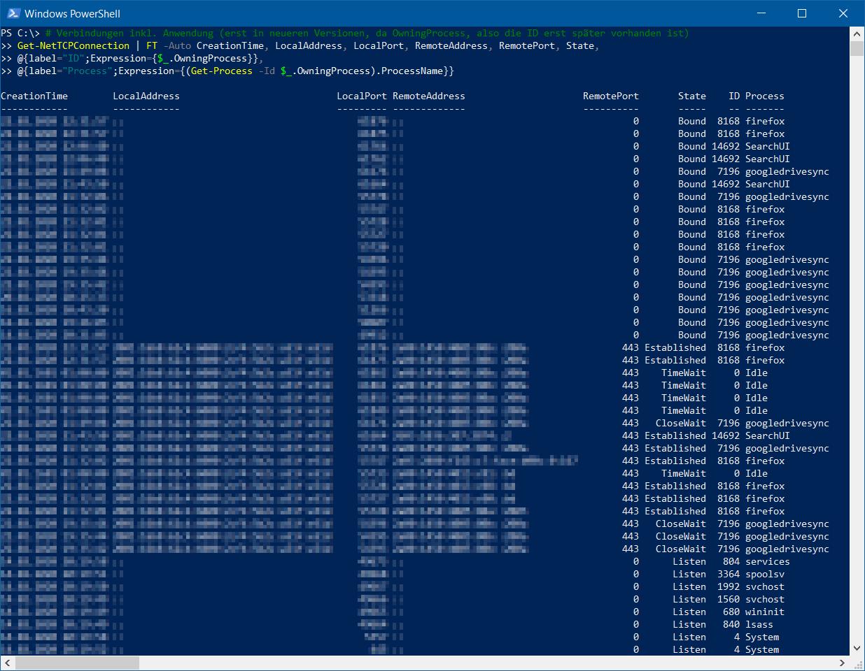 Get-NetTCPConnection - Verbindungen per PowerShell - ohne Hostname - Prozess-ID wird zum Prozessnamen aufgelöst